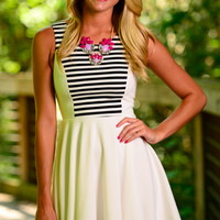 Sailor Way Dress, Black/White