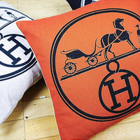 Hermes Carriage Pillow Covers
