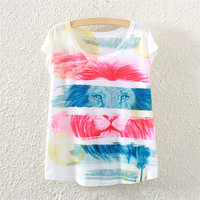 White Short Sleeve Obscure Lion Print T-Shirt