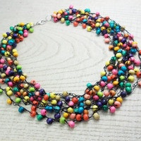 FREE SHIPPING. Multi-Colored Wood Bead Necklace,  Beaded colored necklace, Multi colored beaded, Everyday necklace, Bridesmaid, Women