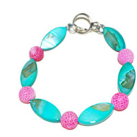 Hot Pink and Teal beaded bracelet, Shell anklet, Bright, cotton candy, OOAK