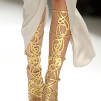 Gold Gladiator Knee High Sandals