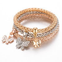 Classics 3Ps Unisex Fashion Elastic Rhinestones Cute Butterfly Pendant Bracelet Trendy Gold Plated Silver Rose Gold Metal C