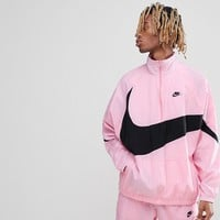 Nike Vaporwave Packable Half Zip Jacket With Large Swoosh In Pink AJ2696-686 at asos.com