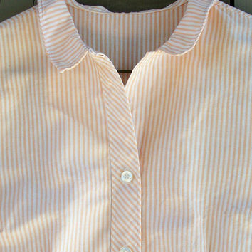 Vintage dress - Apricot and white striped shift