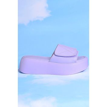 Life of Leisure Platform Velcro Slides - Grape