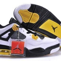 Cheap Air Jordans 4 Retro Men White Shoes Black Yellow