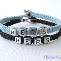 Hers and Hers Bracelets for LGBT Couples, Light Blue and Black Handmade Hemp Jewelry