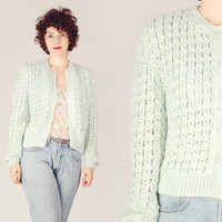 60s Mint Hand Knitted Cardigan / Pastel Speckled Weave Sweater Jacket / Cute Sweet Mid Century Medium M Knit Jacket