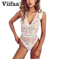 Viifaa Women Ruffles Sleeveless Summer Jumpsuit V Neck Sexy See Through Embroidery Lace White Romper Bodysuit
