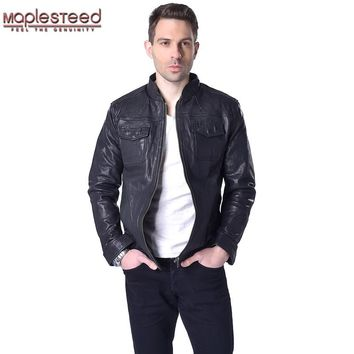 Factory Men's Leather Jacket 100% Vegetable Tanned Goat Leather Jacket Black Bomber Men Leather Coat Male Jackets Autumn ZH040