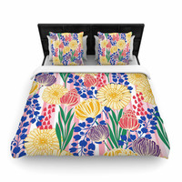 "Amy Reber ""Pretty Bouquet"" Yellow Floral Woven Duvet Cover"