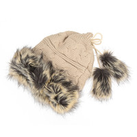Faux Fur Drawstring Knitted Beanie