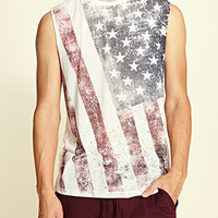 American Flag Muscle Tee White/Red