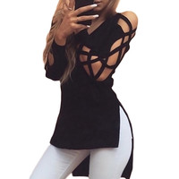 Senza Fretta New Womens Hollow Casual Long Sleeve Tops Loose Blouse Ladies Lace Sexy T Shirt  NS501