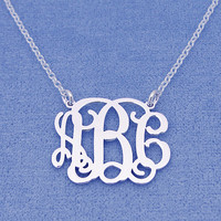 Personalized Sterling Silver 3 Initials Monogram Necklace 1 inch wide SM31C