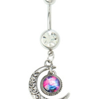 14G Steel Moon Galaxy Navel Barbell