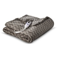 Biddeford Heated Microplush Throw - Chevron