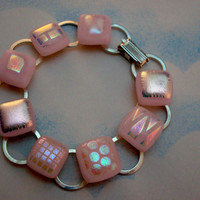 Bracelet - Pink - Dichroic - Fused Glass Bracelet - Jewelry - Silver - Spring 2014 - Original