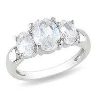 3 1/2 Carat Oval Created White Sapphire 3 Stone Ring in Sterling Silver