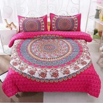 2017 new flowers Bohemia Twin full queen king 3pcs Bedding Set Bedclothes Duvet Cover Pillowcase Bed Linen red purple black