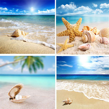 4 Piece Modern Seascape shells Canvas Print Artwork Landscape Sea Beach Pictures Canvas Paintings Wall Art for Home Decorations