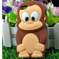 OOOUSE Cute Animal 3D Monkey King Silicone Case Cover Skin for iPhone 5 Brown