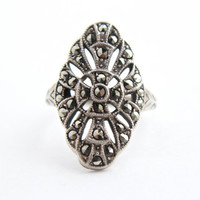 Vintage Genuine Art Deco Sterling Silver Uncas Ring -  Size 6 1/2 Marcasite Costume Jewelry / Large Marquise