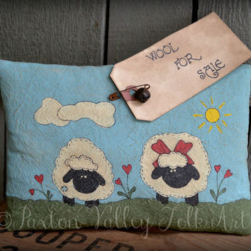 Hand Painted Sheep Pillow Handpainted Muslin and Cutter Quilt Cupboard Tuck Primitive Rustic Home Decor