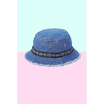 Denim Deadstock Flower Trim Bucket Hat