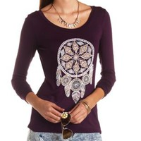 Rhinestone Studded Dreamcatcher Graphic Tee - Oxblood