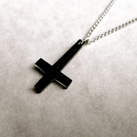 tiny dark inverted upside down cross charm necklace with silver chain