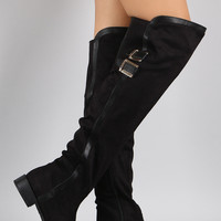 Bamboo Contrast Trim Buckled Riding Over-The-Knee Boots