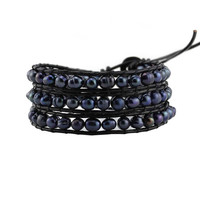Peacock Black Freshwater Pearls on Black Leather Wrap Bracelet