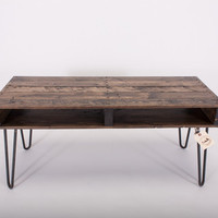 TV Stand / Media Stand - Reclaimed Pallet Wood with Hairpin Legs, Slim