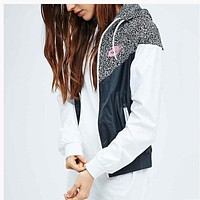 NIKE Popular Women Men  Print Hooded Zipper Coat Windbreaker Sportswear
