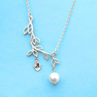 Branch, Pearl, Persoanlized, Letter, Initial, Gold, Silver, Necklace, Beautiful, Pearl, Tree, Jewelry, Custom, Necklace, Gift, Jewelry