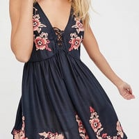 Navy Floral Embroidered Lace Up Front Sleeveless Mini Dress
