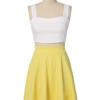 White and Yellow Sleeveless Cropped Top and Hip-Pleated Skirt