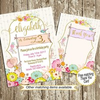 Birthday Invitation for Girls 1st 2nd 3rd 4th 5th 6th Floral Mouse Birthday invitation Printable Gold pink Purple Turquoise Custom, colors