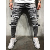 Street Style Jeans Distressed Cargo Pants 4234
