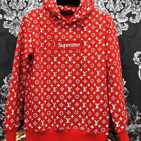 LV Supreme Fashion Embroidered tea red hooded sweater