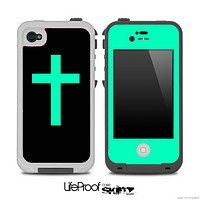 The Black & Trendy Green Simple Vector Cross Skin for the iPhone 4,4s or 5 LifeProof Case