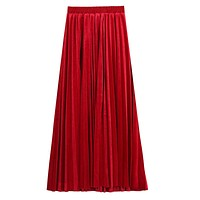 Fashion Pleated Design Women Long Length Velvet Skirt