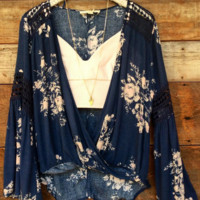 """Faithfully Floral"" Bellsleeve & Lace Top"