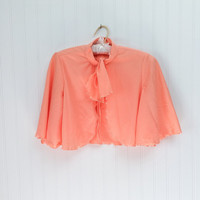 Suki cape // 70s peach sherbert pastel ultra draped angel sleeve mini crop knit cape top // boho dolly // size S