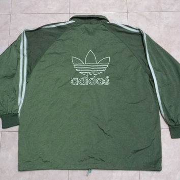 Vintage Rare big logo ADIDAS trefoil triple stripe jacket run dmc hip hop, green army colour L size