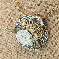 Steampunk Jewelry Art Assemblage Necklace Brooch Combo upcycled watch cyberpunk pendant steampunk necklace Victorian brooch luxe hardware
