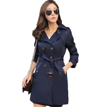 2017 Spring Autumn Fashion Loose Windbreaker Coats Women's Elegant Overcoat Double Breasted Belted Slim Long Trench Coat XH144