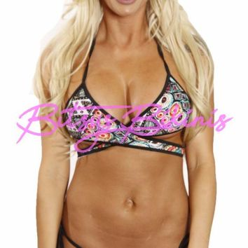 Bitsy's Bikinis Southwestern Print Cross Front Top Scrunch Butt Bikini 2 Piece Swimsuit